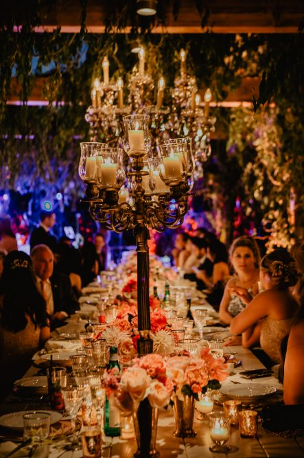 Luxury wedding in Tuscany with bronze candelabras