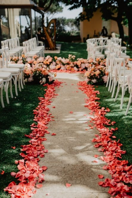 Romantic wedding aisle in Tuscany