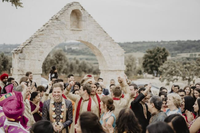 Baraat for an indian wedding in a masseria in Puglia