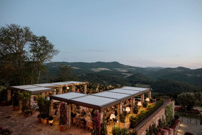 Terrace with view over the hills at the sunset