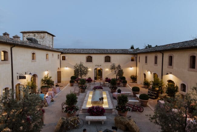Courtyard for wedding reception in Tuscany