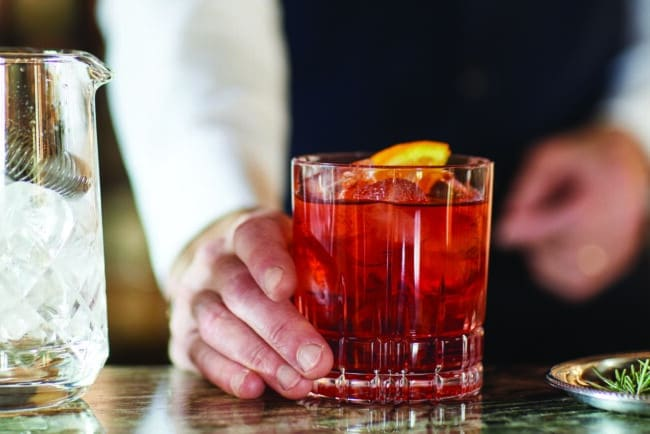 Negroni cocktail at the bar of this exclusive resort in Tuscany