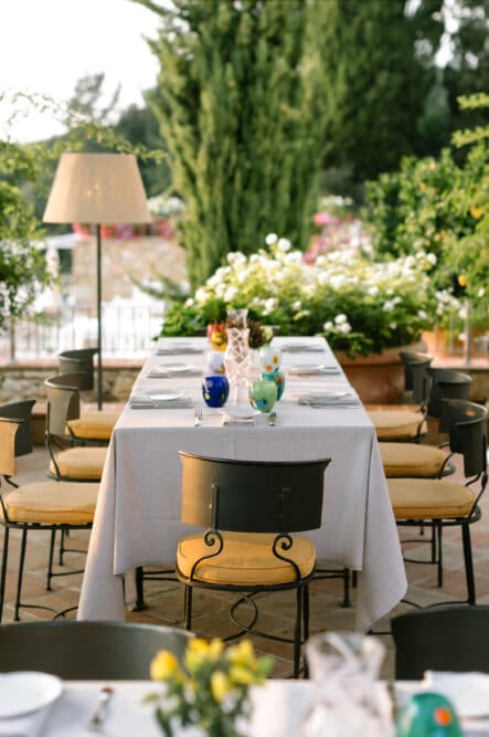 Restaurant table at this exclusive wedding venue in Tuscany