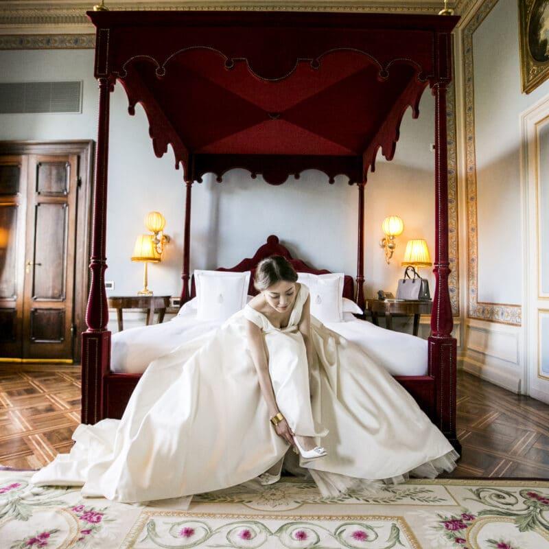 Bride getting ready in a luxury villa in Tuscany