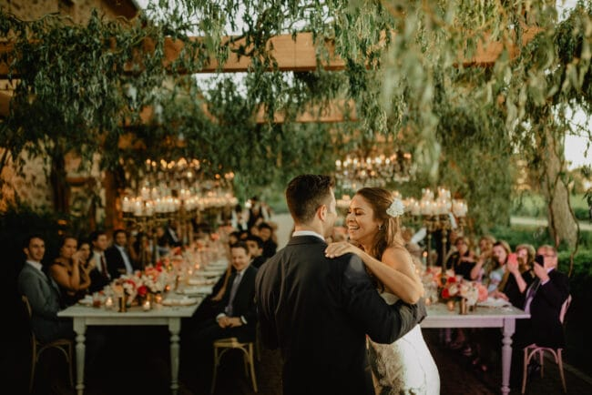 First dance in a luxury wedding in Tuscany