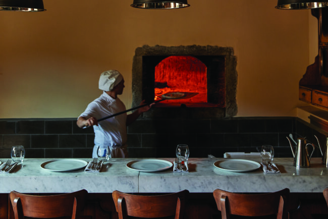 Pizza party with wooden oven in Tuscany