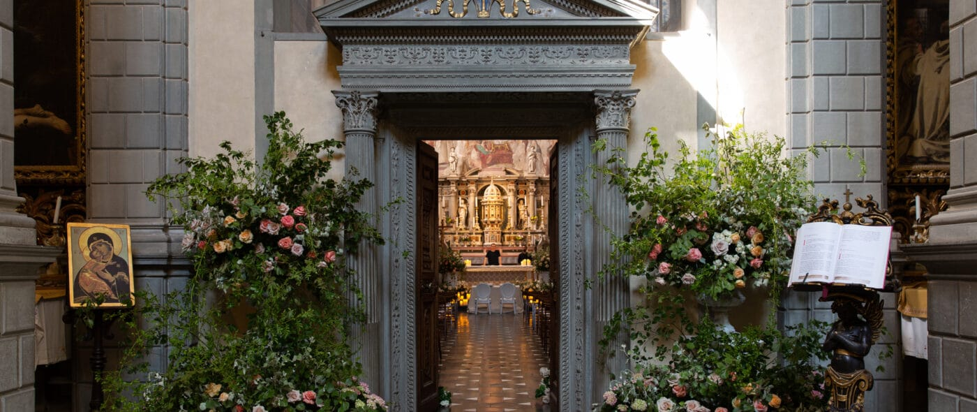 Entrance of a romantic wedding chapel in Tuscany