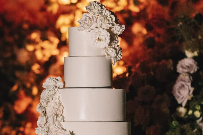 White wedding cake for a wedding in Florence