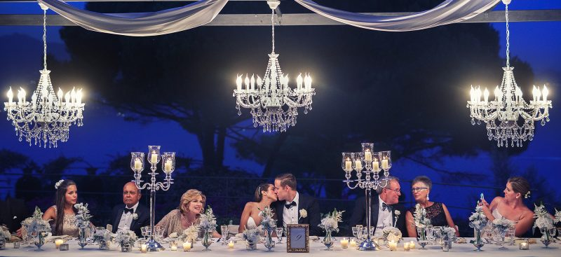 Wedding in Portofino with hanging chandeliers