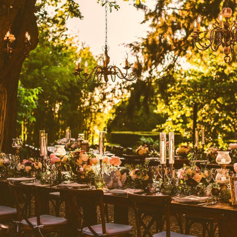 Romantic wedding dinner in the villa garden