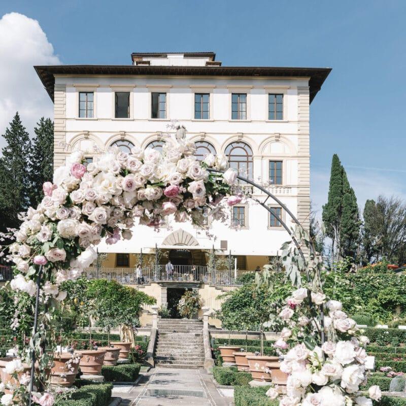Beautiful arrangements of a wedding villa