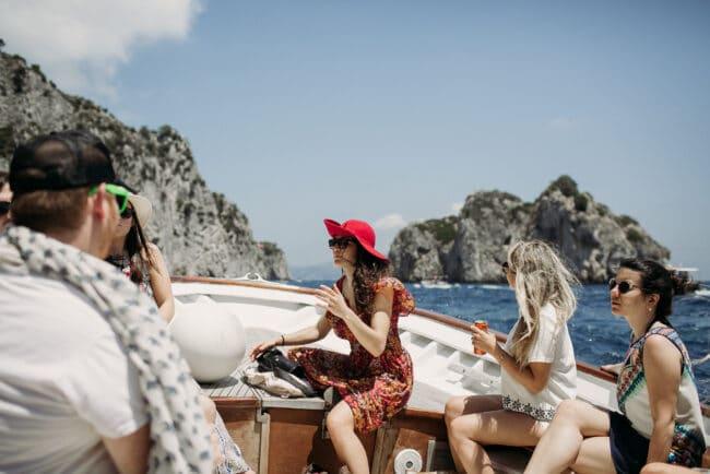 Boat tour to reach the wedding brunch venue in Capri