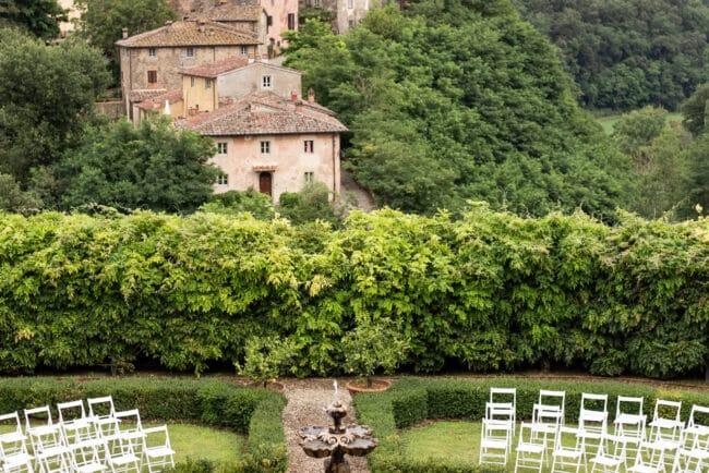 Wedding ceremony in Tuscany with borgo view