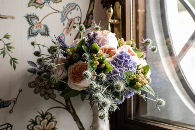 Bridal bouquet with thistles of a Lebanese wedding