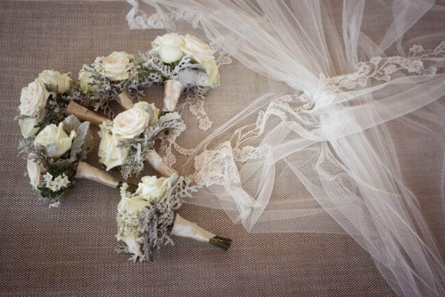 Ivory and green bridal party bouquet