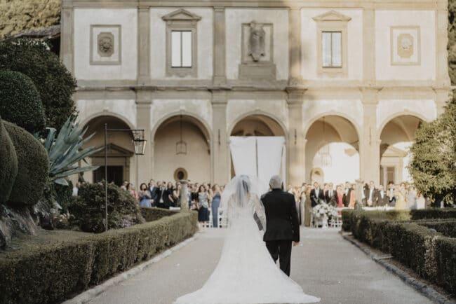 Bridal entrance in a luxury wedding venue in Italy