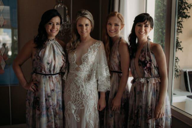 Bride and bridesmaids in a wedding in Capri