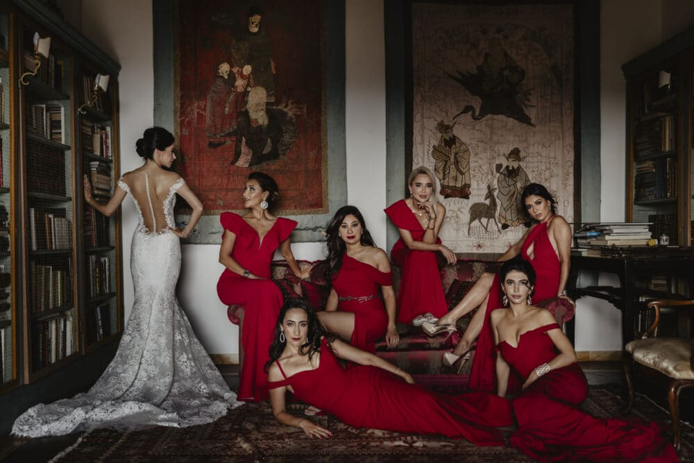 Bride and bridesmaids with red dresses