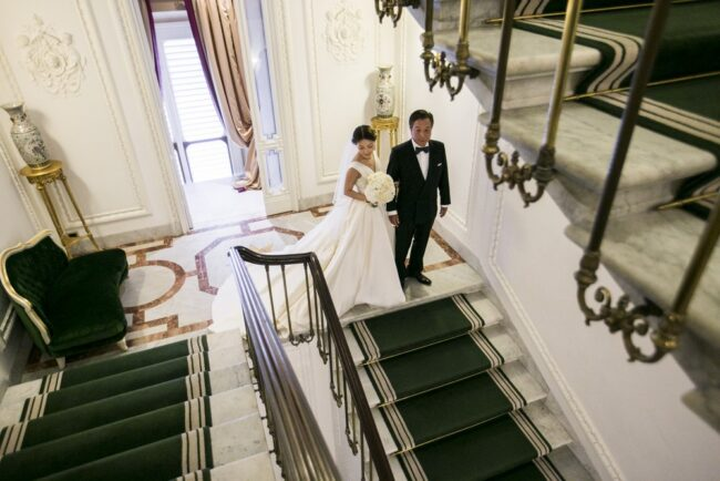 Bride and her father in a luxury wedding villa in Tuscany