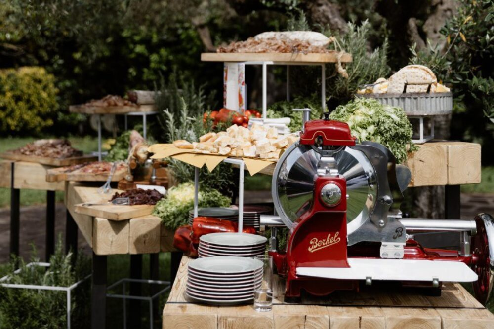 Buffet station for goodbye brunch in Italy
