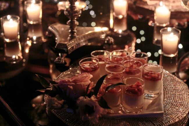 Candles dessert lights in luxury location