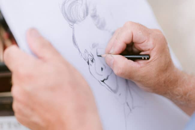 Caricaturist as entertainment for a wedding in Italy