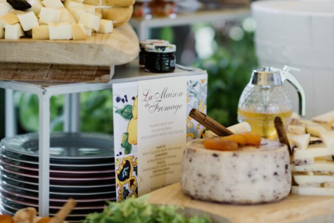 Cheese buffet for a wedding brunch in Italy