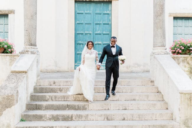 Bride and groom in front of a beautiful Church in Ravello