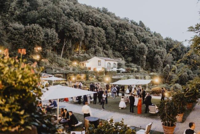 Wedding cocktail reception in the garden