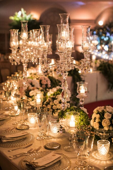 Luxury wedding table decors with cutglass candelabras