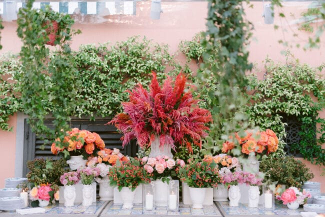 Luxury wedding flower decors in Italy