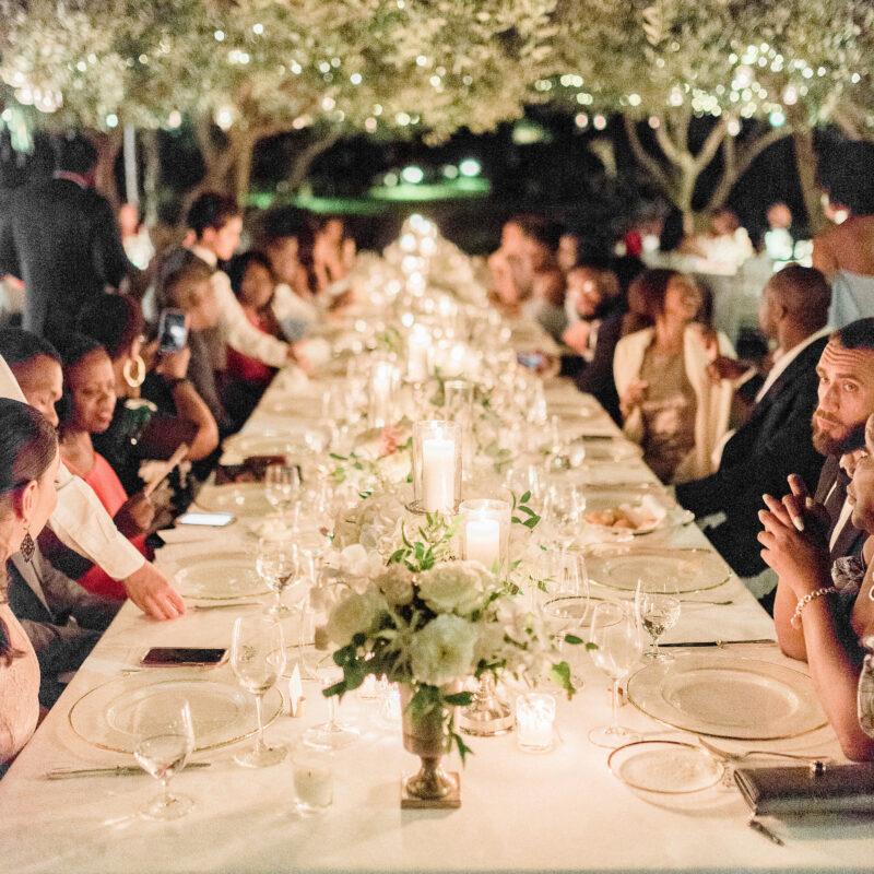 Romantic wedding dinner under the olive trees