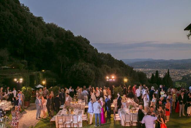 Elegant outdoor wedding party in Italy
