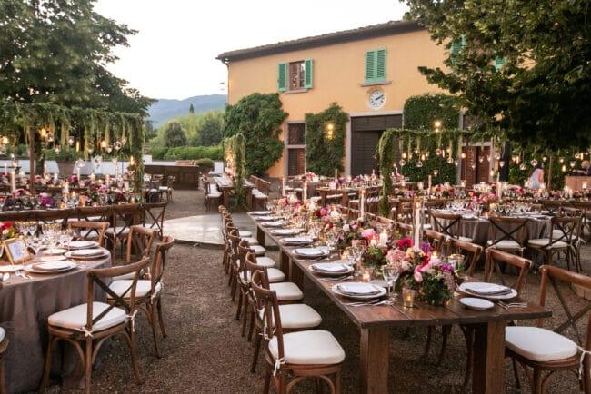Elegant outdoor dinner villa in a Tuscan borgo