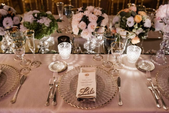 Tabe setting with mirror details and cutglass candleholders