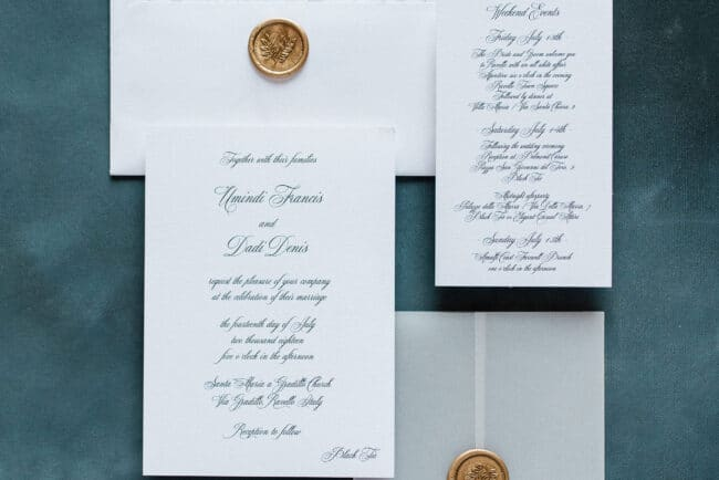 Elegant stationery for a wedding in Ravello