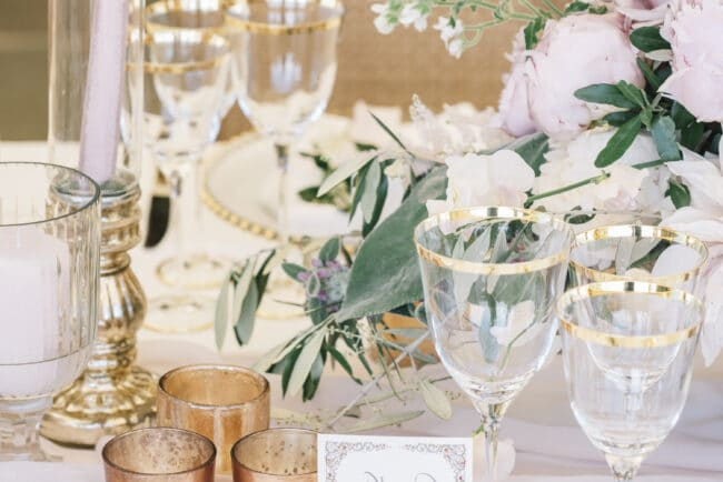 Wedding tables decor with gold details
