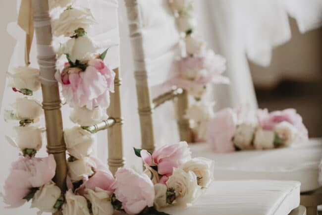 Pink garlands for an Indian wedding in Italy