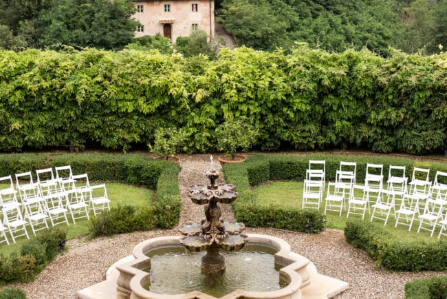 Garden with fountain of a Lebanese wedding villa