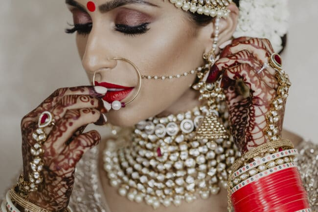 Bride with indian bangles