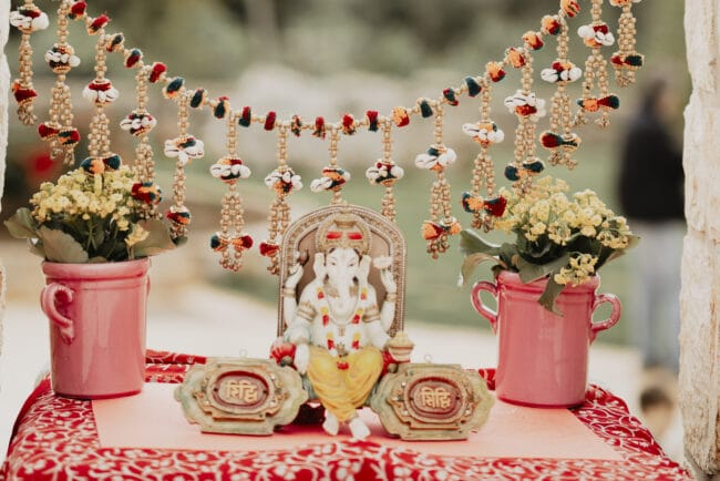 Details of a wedding Indian ceremony decor