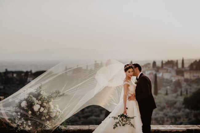 Indian wedding couple kissing