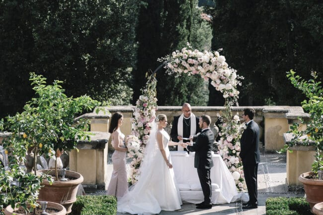 Romantic intimate wedding with Florence with view