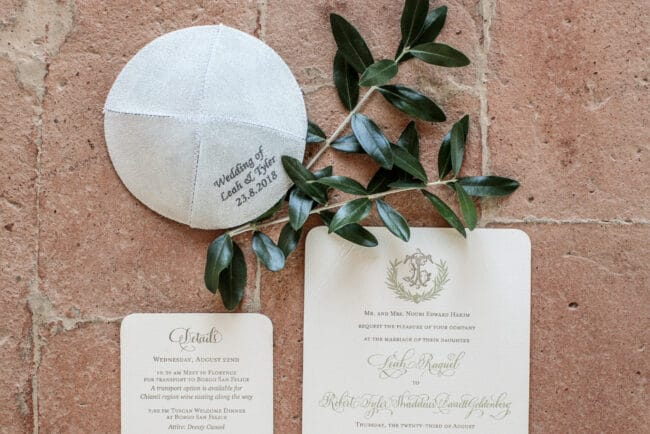 Kippah and invitation for perfect wedding