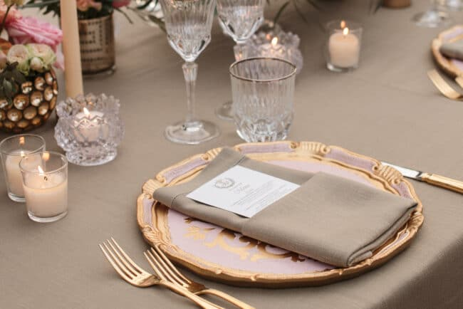 Jewish wedding luxury tablesetting