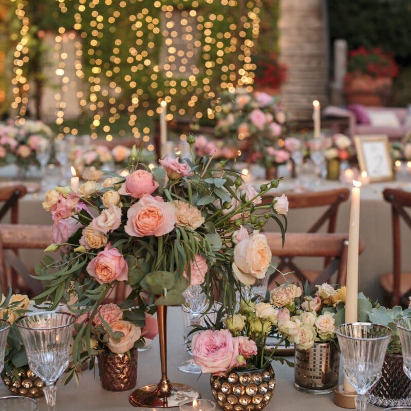 Jewish wedding Tuscany lights decorations