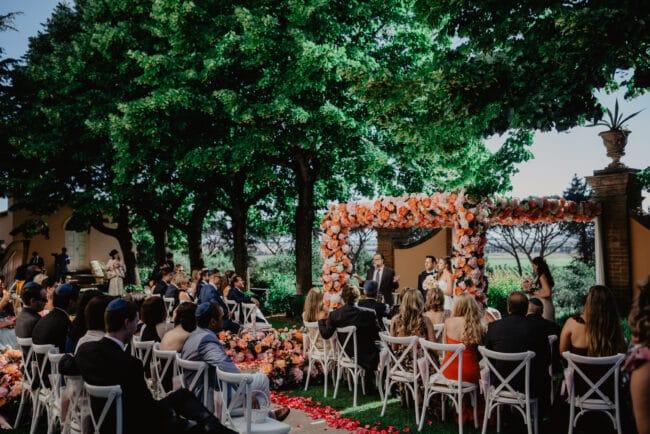 Romantic ceremony setting in Tuscany