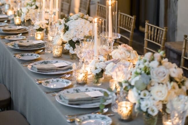 Luxury decor for a wedding table in Italy