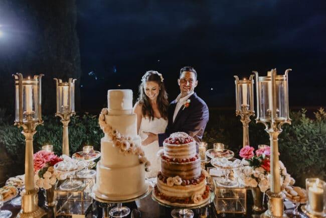 Wedding cake cutting with dessert buffet