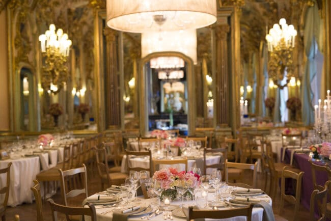 Luxury dinner ballroom in a villa in tuscany